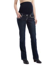Bella Vida Dark Blue Stitch Maternity Bootcut Jeans