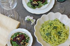 Creamy Avocado Pasta and Balsamic Roasted Beet Salad #healthy #dinner #recipes http://greatist.com/eat/healthy-dinner-recipes-for-two