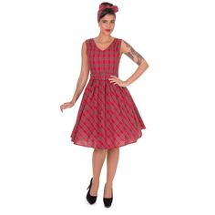 Dolly & Dotty Petal Vintage Checkered Swing Dress in Red - £34.99