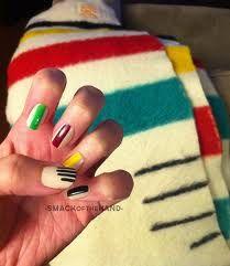 hudson bay blanket nails - that's fun
