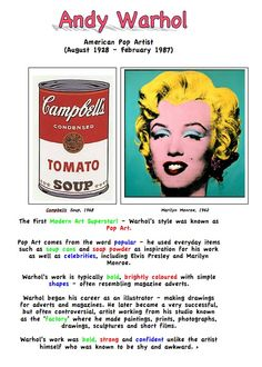 Andy Warhol Artist Fact Sheet for Kids