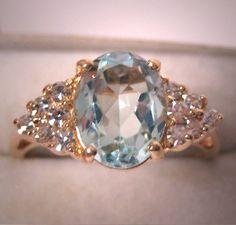 Vintage Aquamarine Diamond Ring Estate Art Deco Wedding (item #1010336, detailed views)