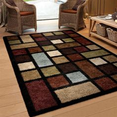 Modern Multi - Colored Shag Area Rug. Buying an area rug is a fantastic way to add color, warmth and comfort to any room or office space, as well as gain some of the benefits of carpet. This rug includes shades of brown, ivory, copper, rust, blue, moss green, seafoam green, ivory, beige and bronze. | eBay!