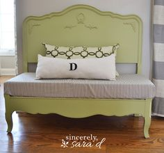 Bench made from a headboard & footboard.