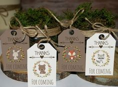 Woodland favor tags printable, woodland baby shower tags, woodland birthday favors, thank you tags, woodland animal favors by MagicPartyDesigns on Etsy https://www.etsy.com/listing/263342603/woodland-favor-tags-printable-woodland