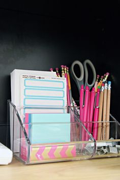 Iheart organizing: back to school: dorm room organization tips dorm room organisation, school Organisation Hacks, Dorm Room Organisation, Dorm Room Storage, School Supplies Organization, College Organization, Space Saving Storage, Diy School Supplies, Storage Organization, Desk Supplies