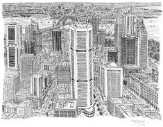 "Stephen Wiltshire an artist who sketches from memory this is his ""Sydney"""