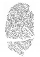 Combine text, handwriting, and fingerprint to form a self portrait