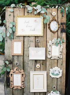Sandra and Michael, wedding in the Viennese vineyards by Lovely Weddings and peaches & mint ✰ wedding guide ✰ - SITZPLAN HOCHZEIT - Austrian vineyard wedding, rustic wood photo backdrop with framed photos – design by Lovely Weddi - Pallet Wedding, Diy Wedding, Wedding Flowers, Wedding Rustic, Wedding Ideas, Wedding Photos, Wedding Inspiration, Wedding Card, Wedding Details