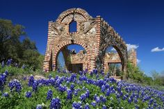 Spring time In Glen Rose , Texas . The ruins of an old gas station. Beautiful stonework of petrified wood and rocks.