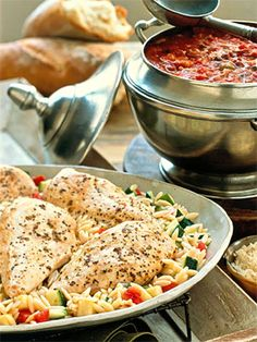 With this pressure cooker recipe, the  chicken and orzo cook together. Zucchini, tomato, and fresh thyme are added at the end to complete the one-pan meal.