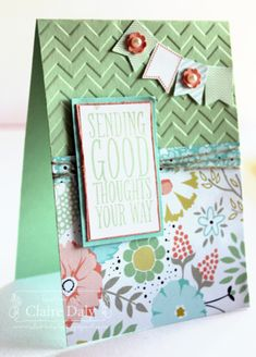 Saleabration Australia for Stampin' Up! starts today. This card shows the Sweet Sorbet Designer Series Paper, Banner Blast Stamp Set, Banner Punch (each free with a 90 dollar order), Claire Daly Stampin Up Demonstrator Melbourne Australia. #stampinup #stampinupaustralia #saleabration #Australia #saleabration2014