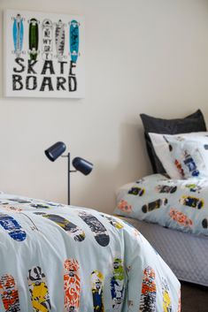 This boy's room is perfect for the skateboarder! #boysbedroom #bedroom #kidsbedroom #sycamoreplan #showhome #parklandsestate #interiordesign #generationhomesnz 4 Bedroom House Plans, Home Bedroom, Kids Bedroom, Bedrooms, Bed Pillows, Pillow Cases, How To Plan, Interior Design, Pillows