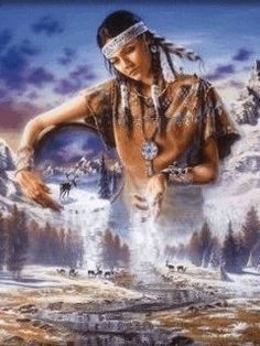 """Some Native Americans attribute the conception and sometimes creation of the universe to the """"Great Spirit"""", also called Gitchi Manitou or Wakan Tanka. Mother Earth and Father Sky or the Moon and Sun sometimes take over. Native American Pictures, Native American Artwork, Native American Wisdom, Native American Beauty, Indian Pictures, Native American Tribes, American Spirit, American Indian Art, Native American History"""