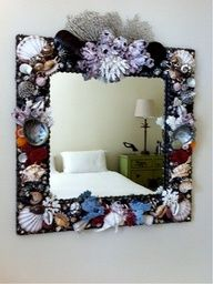 decorating mirrors with shells | seashell mirror, coral mirror, shell mirror, beach house mirror ...
