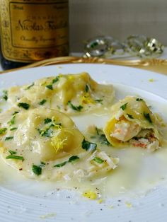 I thought I'd make something special to bring in the new year, how about shrimp and lobster ravioli with a luscious limoncello cream sauce? It's so full of flavor, not too heavy, and the light limonce