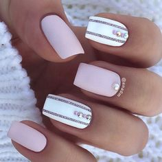 Soft, matte, white and pink manicure with a little bling and glitter. By @ana0m on Instagram.