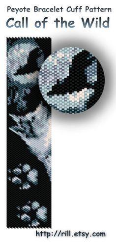 Call of the Wild - winter fashion - Pattern Peyote Bracelet - Peyote Cuff Bracelet Pattern - wolf - dog - moon - seed bead pattern