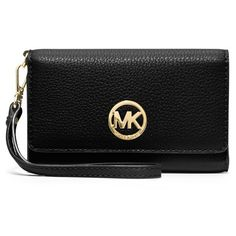 MICHAEL Michael Kors 'Large Fulton' Leather Wristlet ($128) ❤ liked on Polyvore featuring bags, handbags, clutches, black, michael michael kors handbags, real leather handbags, black wristlet, black clutches and genuine leather handbags