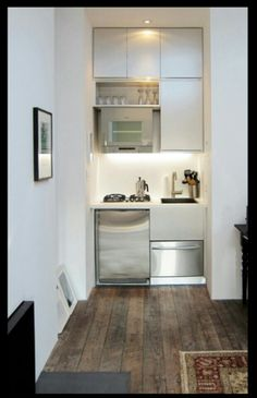 Kitchen:Tiny Kitchen Ideas Super Small Kitchen Concept White Clean Cabinets Polished Stainless Steel Oven Polished Microwave Black Fused Double Cook Tops Polished Stainless Dishwasher Ideas Very Clever Compact Kitchen for Small Apartments Tiny Spaces, Small Apartments, Studio Apartments, Küchen Design, Home Design, Design Ideas, Interior Design, Interior Modern, Design Inspiration