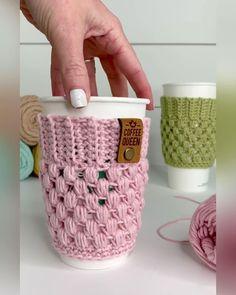 Crochet Coffee Cozy, Crochet Cozy, Knitted Coffee Sleeve, Coffee Cup Sleeves, Coffee Cup Cozy, Crochet Yarn, Free Crochet, Cotton Crochet Patterns, Crochet With Cotton Yarn