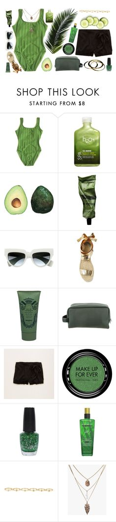 """Green 💚"" by tamo-kipshidze ❤ liked on Polyvore featuring H2O+, Aesop, Prada, Sisley Paris, Louis Vuitton, Aerie, MAKE UP FOR EVER, OPI, Maria Francesca Pepe and Janna Conner"
