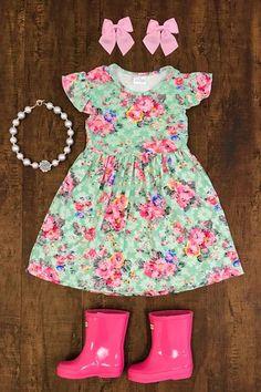 Mint Floral Bell Sleeve Dress