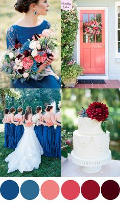 A Royal Blue, Coral & Cranberry Wedding Palette