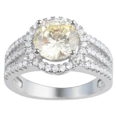 3 3/4 CT. T.W. Round-Cut CZ Basket Set Halo Fashion Ring in Sterling Silver - Yellow, 9, Women's