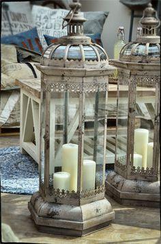 Farmhouse Decor, Lantern Candle Holders, Lanterns, Lamp Light, Lanterns Decor, Lantern Lights, Lantern Chandelier, Iron Decor, White Candles