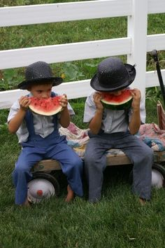 Amish boys eating watermelon...ahhh, the simple things in life
