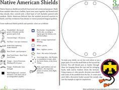 Worksheets: Native American Symbols: Design a Shield