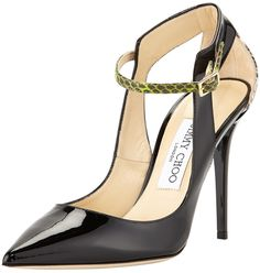 Jimmy Choo Mystic Snake-Trim Pointy Pumps