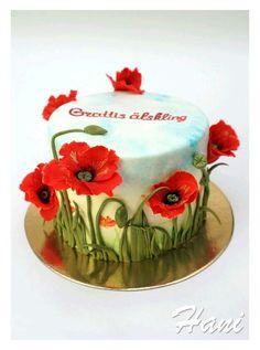 Pretty Cakes, Beautiful Cakes, Amazing Cakes, Cupcakes, Cupcake Cakes, Funeral Cake, Pavlova Cake, Poppy Cake, Log Cake