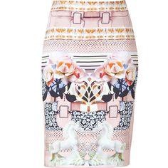 MARY KATRANTZOU Peony Porcelain Horse Print Silk Pencil Skirt found on Polyvore