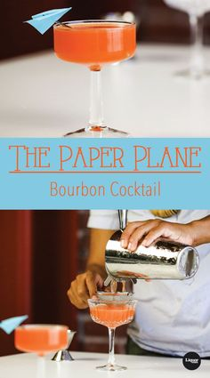 Meet The Bourbon Cocktail You Probably Never Knew Existed: The Paper Plane. It's simple to make and even easier to sip. Meet The Bourbon Cocktail You Probably Never Knew Existed: The Paper Plane. It's simple to make and even easier to sip. Bourbon Cocktails, Whiskey Drinks, Classic Cocktails, Cocktail Drinks, Fun Drinks, Yummy Drinks, Cocktail Recipes, Alcoholic Drinks, Beverages