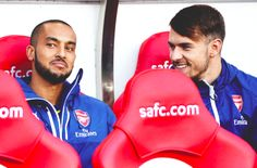 Theo and Ramsey Theo Walcott, Arsenal Fc, Eye Candy, Football, Bench, Happy, Beautiful, Soccer, Futbol