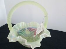 """FENTON  7 1/4""""TALL HAND PAINTED VASELINE BASKET WITH FLOWERS RETIRED  EXCELLENT"""