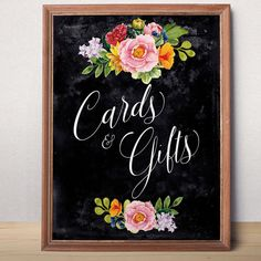 Wedding cards and gifts sign Wedding Chalkboard  sign Cards and Gifts wedding printable Wedding decor Floral cards gifts sign Digital sign