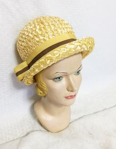 Items similar to Vintage Yellow Straw Mod Cloche Boater Hat with Gold and Brown Ribbon Trim Size 22 Union Made Mid Century Women's Clothing on Etsy Vintage Hats, Vintage Ladies, Toddler Summer Dresses, How To Make Labels, Boater Hat, Union Made, Cloche Hat, Vintage Yellow, Grosgrain Ribbon