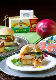 Butter Chicken Sliders with Pickled Mango Slaw from @spicyperspectiv (the chicken alone sounds delightful)