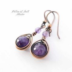 Amethyst Earrings - Wire wrapped jewelry handmade - Copper jewelry - anniversary gift for her - gemstone earrings wire jewelry for women Copper Jewelry, Wire Jewelry, Beaded Jewelry, Handmade Jewelry, Handmade Copper, Bridal Jewellery, Jewelry Holder, Jewelry Rings, Platinum Earrings