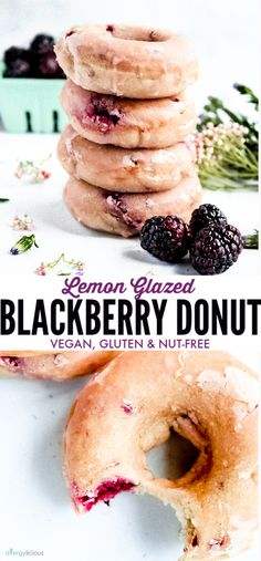 These baked lemon glazed blackberry donuts are light and cakey and hard to resis. - These baked lemon glazed blackberry donuts are light and cakey and hard to resist. Dessert Sans Gluten, Vegan Dessert Recipes, Donut Recipes, Vegan Breakfast Recipes, Vegan Sweets, Gourmet Recipes, Healthy Recipes, Recipes Dinner, Vegan Gluten Free Breakfast