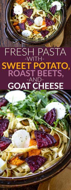 Fresh Pasta with Sweet Potato, Roasted Beet, and Goat Cheese http://thewanderlustkitchen.com/fresh-pasta-sweet-potato-roasted-beet-goat-cheese/