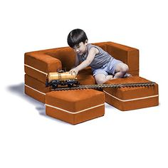 Kids' Sofas - Jaxx Zipline Kids Modular Sofa  Ottomans  Fold Out Lounger Mandarin ** Be sure to check out this awesome product.