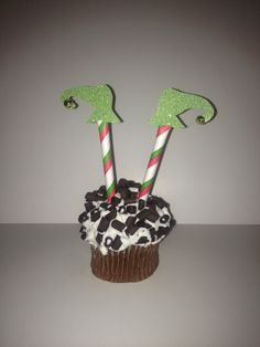 Sale Christmas Cupcake Topper Elf Shoe Green Glitter Jingle Bells Retro Stripes n Polka Dots Cake Straws Holiday Handmade Decoration