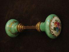 "RESERVED FOR ""MYCATEYES"" Vintage-Antique French Floral Doorknobs"