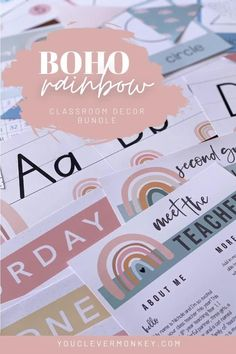 This bundle of gorgeous modern BOHO RAINBOW classroom decor can be used in endless ways around your classroom! With easy to edit labels, signs, meet the teacher templates, bunting, alphabet runners, shape posters, calendars, newsletters, bulletin board banners, birthday displays, number lines, word walls and so much more, setting up your room has never been easier! Or better value...Full of neutral rainbow designs and earthy abstracts set to a boho palette you will love… Teacher Organization, Organizing, Meet The Teacher Template, Classroom Desk, Birthday Display, Shape Posters, Number Lines, Rainbow Decorations, Word Walls