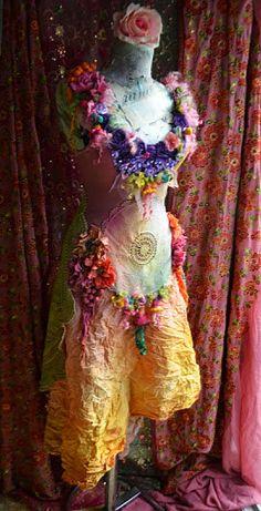 Art To Wear Bohemian Romantic Upcycled dress mori by irinacarmen