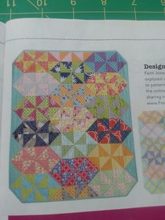 """From Fon's & Porter Summer 2016 Triangle Quilts - Candy Pinwheels - Don't particularly like this color but it can be done in any color scheme. I do like the odd shape.  Finishes out at 40"""" x 48""""  which is about a crib size quilt"""